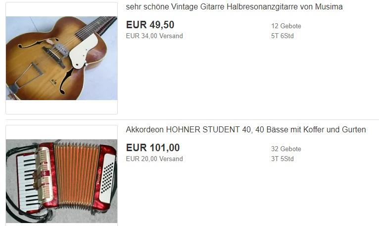 Винтажная гитара и аккордеон с Ebay.de